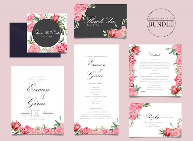 Paquet de cartes d'invitation de mariage avec aquarelle floral et modèle de feuilles Vecteur Premium