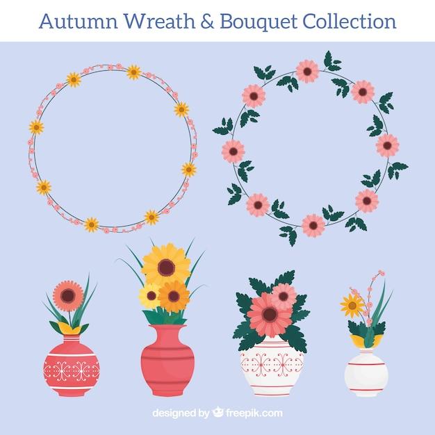 Paquet de couronnes et de vases floraux en conception plate Vecteur gratuit