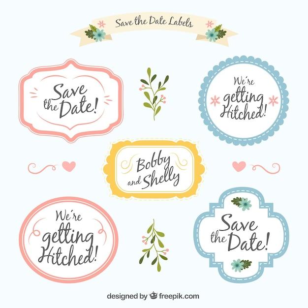 Paquet d'étiquettes de mariage avec style mignon Vecteur gratuit