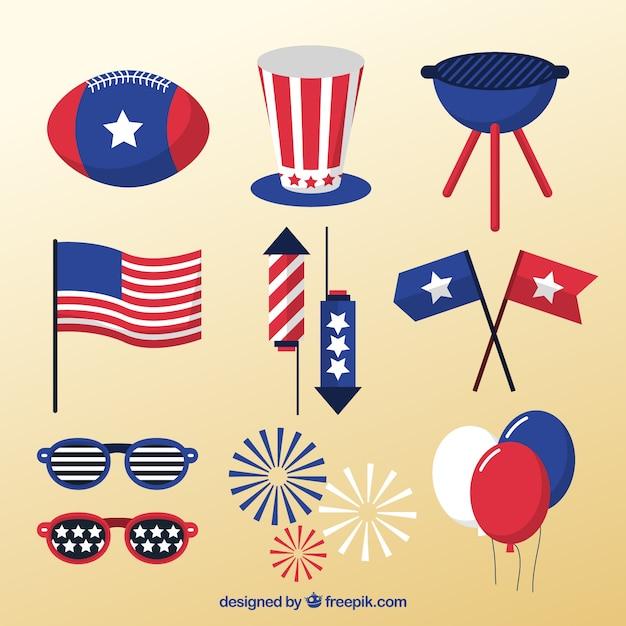 Paquet de décoration américain Vecteur gratuit