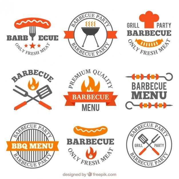 Paquet de décoration badges barbecue plat Vecteur gratuit