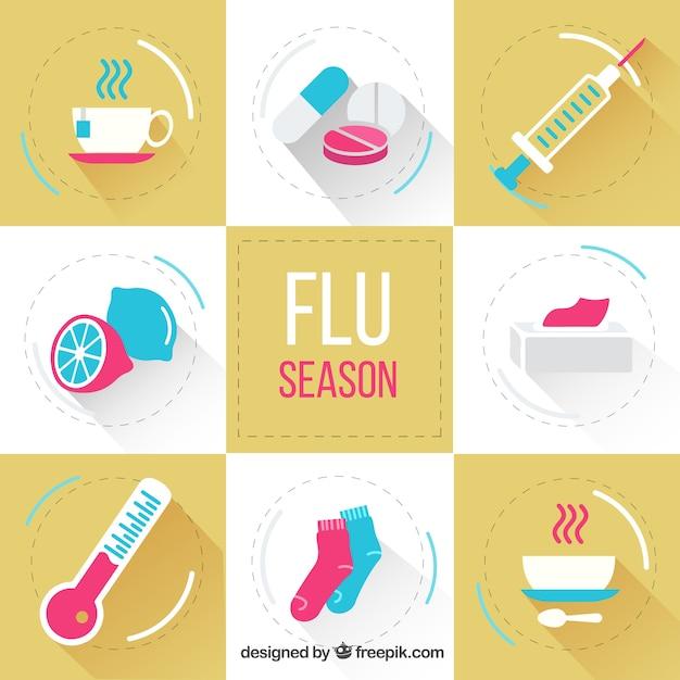 Paquet d'éléments de la saison de la grippe plat Vecteur gratuit