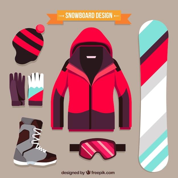 Paquet d'éléments sportifs de snowboard Vecteur gratuit