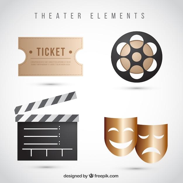 Paquet d'éléments de théâtre réalistes Vecteur gratuit