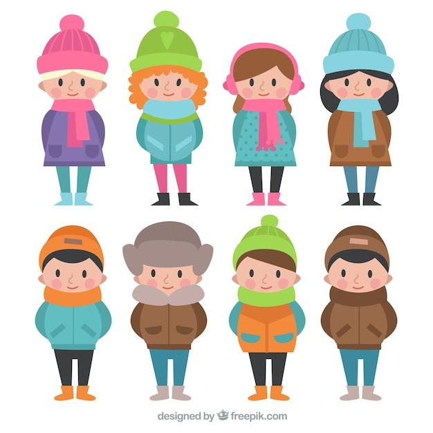 Paquet d'enfants avec des vêtements d'hiver et chapeaux colorés Vecteur gratuit