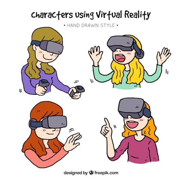 Paquet de filles dessinés à la main en jouant avec des lunettes de réalité virtuelle Vecteur gratuit