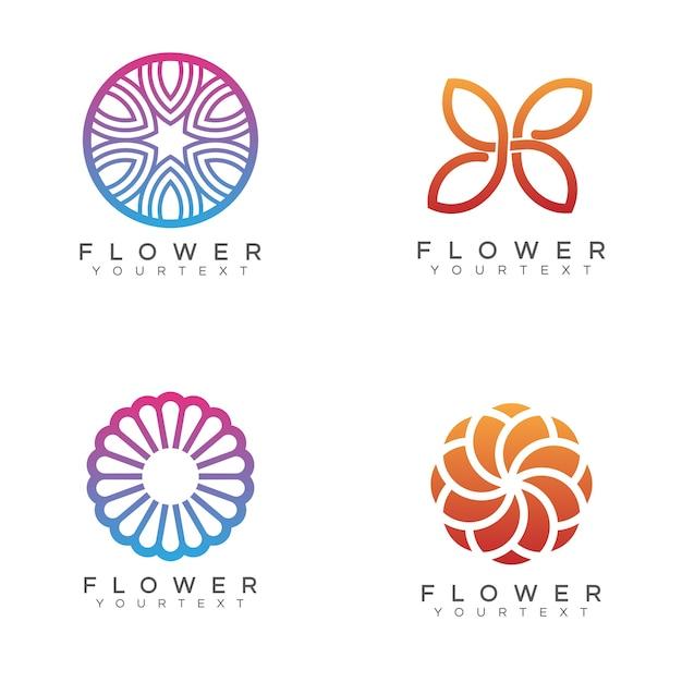 Paquet de fleur logo Vecteur Premium