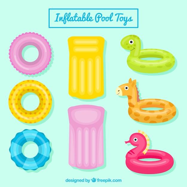 Paquet de flotteurs agréables et jouets gonflables pour la piscine Vecteur gratuit