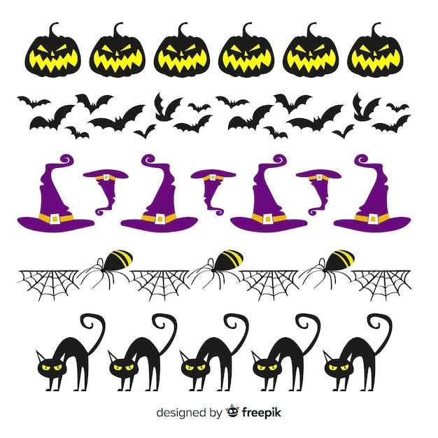 Paquet de frontières décoratives d'halloween au design plat Vecteur gratuit