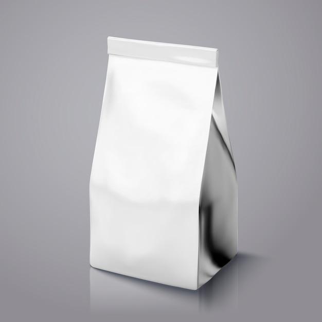 Paquet De Grain De Café, Sachet De Feuille D'argent à Titre D'illustration Pour Les Utilisations Vecteur Premium