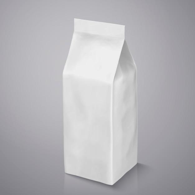 Paquet De Grain De Café, Sachet De Papier D'aluminium Blanc Perle Dans L'illustration Pour Les Utilisations Vecteur Premium