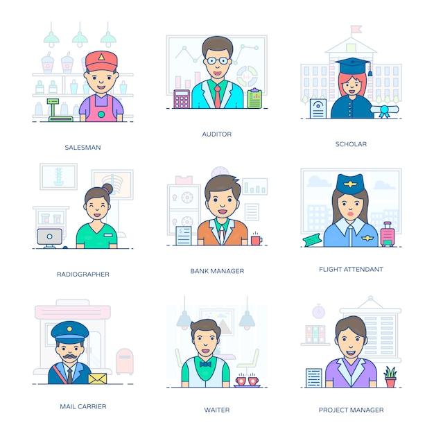 Un paquet incroyable de professionnels, ce pack d'icônes plat vous facilite avec son style éditable Vecteur Premium