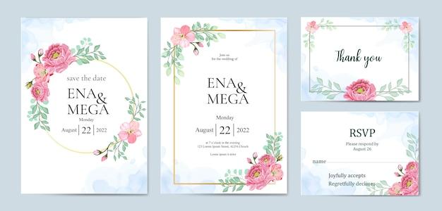 Paquet d'invitation de mariage avec de belles fleurs feuilles Vecteur Premium