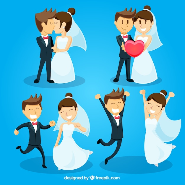 Paquet de jeunes mariés dans l'amour avec un grand sourire Vecteur gratuit