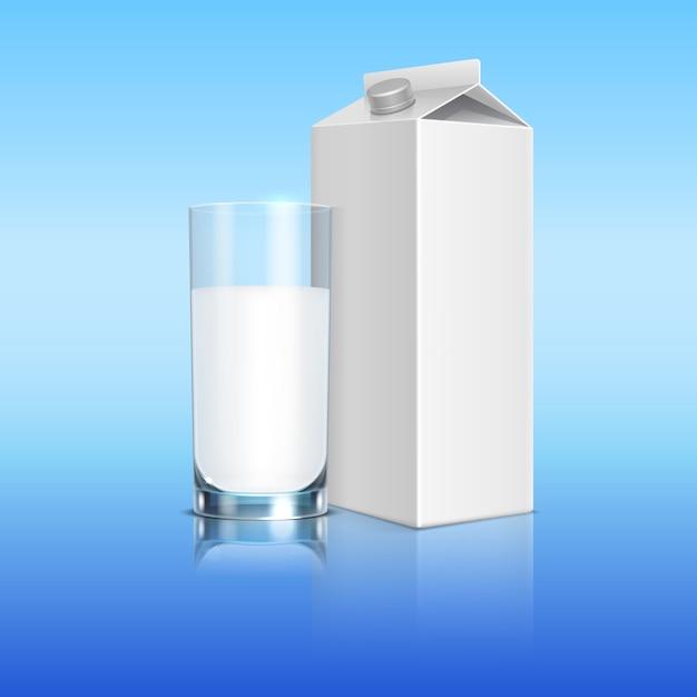Paquet de lait et verre de gabarit de boisson au lait. illustration de boisson d'emballage Vecteur Premium