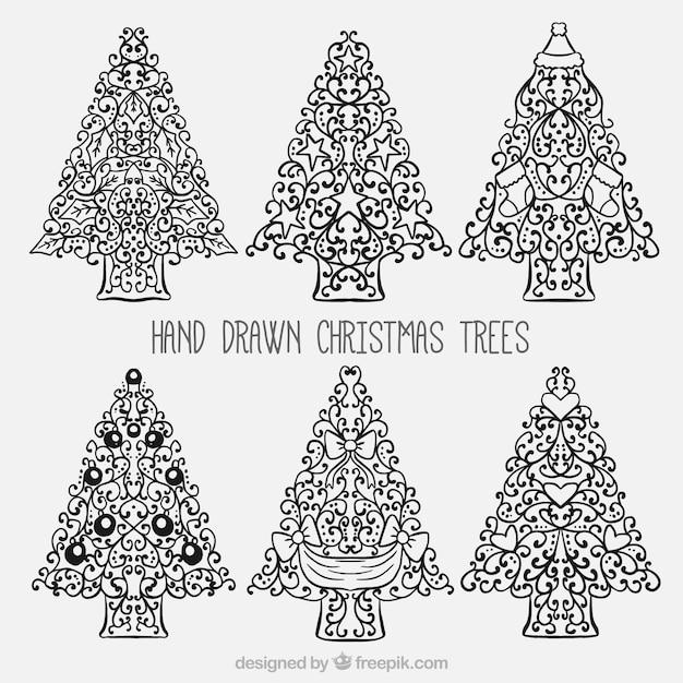 Paquet de main dessiné des arbres d'ornement Vecteur gratuit