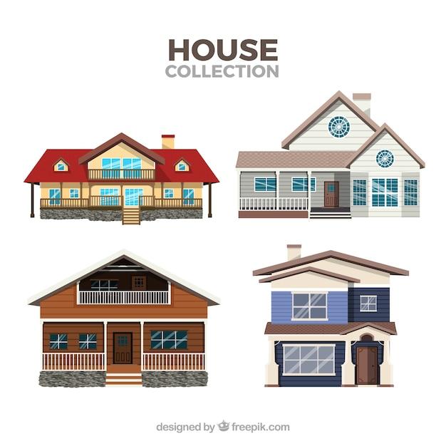 Paquet De Maisons Modernes Vecteur gratuit