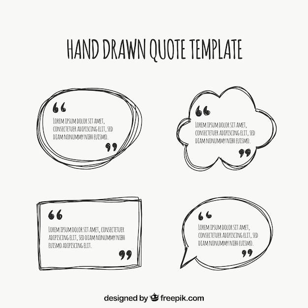 Paquet de modèles dessinés à la main pour les citations Vecteur gratuit