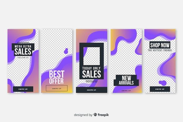 Paquet de modèles d'instagram d'histoires de vente de formes fluides Vecteur gratuit