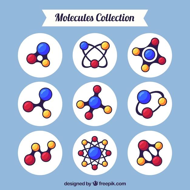 Paquet de molécules dessinées à la main Vecteur gratuit