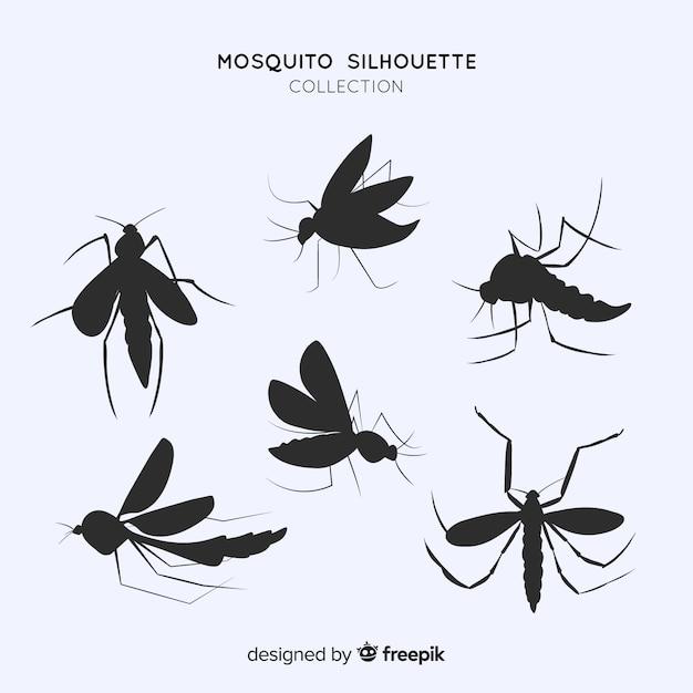 Paquet Plat De Silhouettes De Moustiques Vecteur gratuit