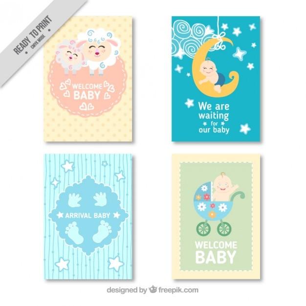 Paquet de quatre belles cartes de douche de bébé Vecteur gratuit