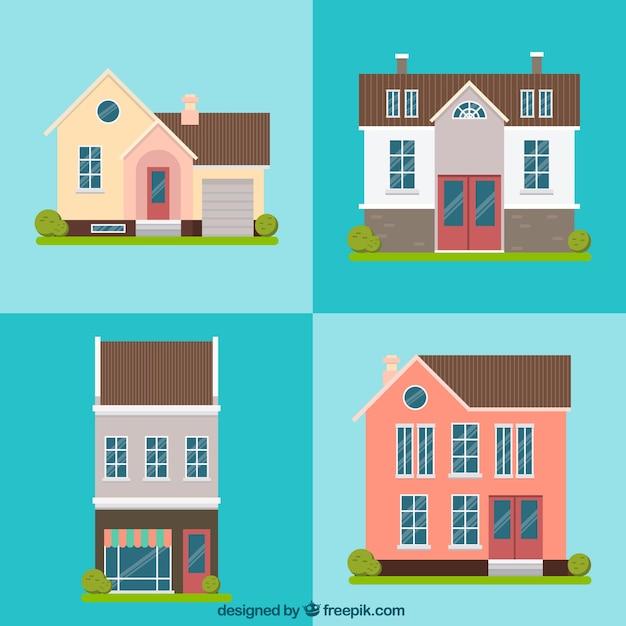 Paquet de quatre belles maisons façades en design plat | Télécharger ...