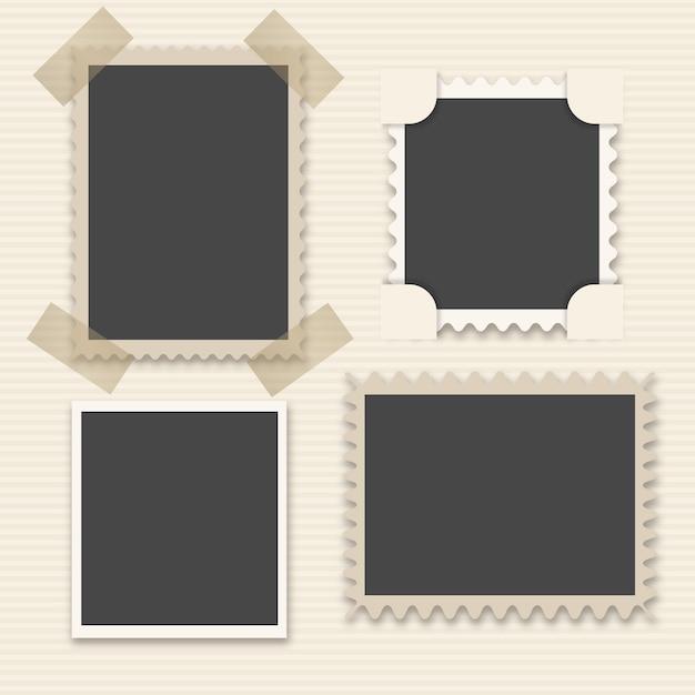 Paquet De Quatre Cadres Décoratifs Photo D'époque Vecteur Premium