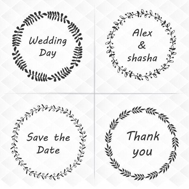 Paquet de quatre guirlande florale de mariage Vecteur Premium