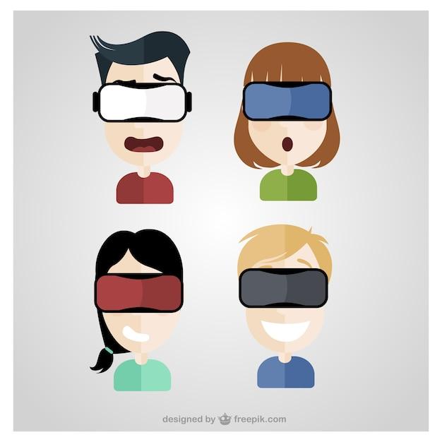 Paquet de quatre personnes avec des lunettes de réalité virtuelle Vecteur gratuit