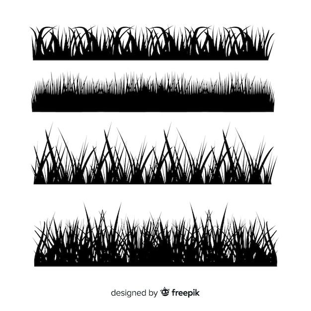 Paquet de silhouettes de bordure d'herbe Vecteur gratuit