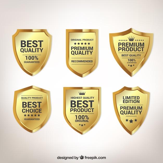Paquet de six écrans de qualité d'or Vecteur gratuit