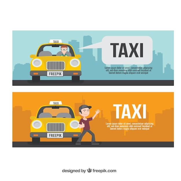Paquet De Trois Bannières De Taxi Vecteur gratuit