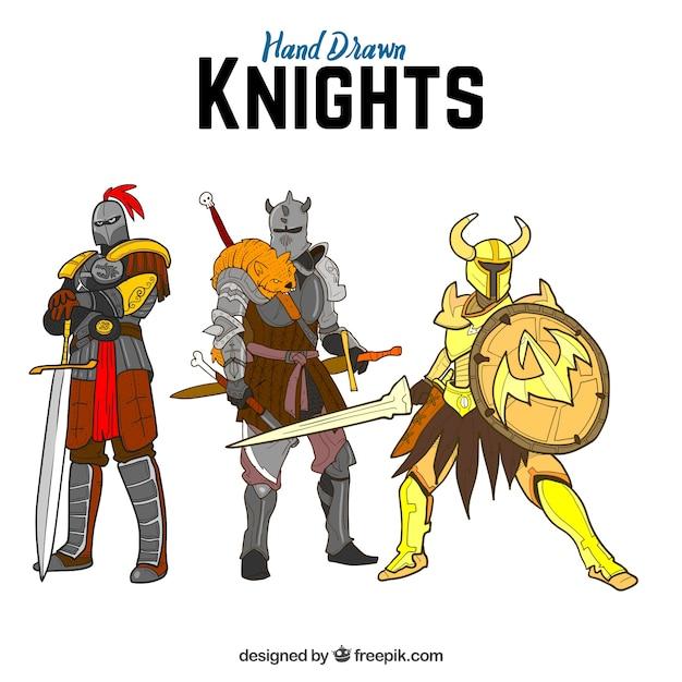 Paquet de trois chevaliers guerriers tirés à la main Vecteur gratuit