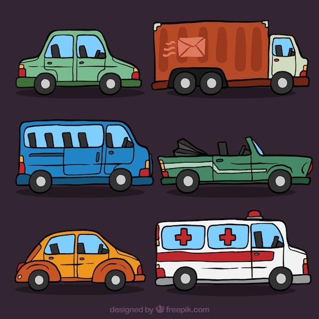 Paquet de véhicules dessinés à la main décoratifs Vecteur gratuit