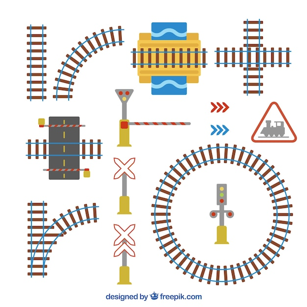 Paquet de voies ferrées et panneaux Vecteur gratuit
