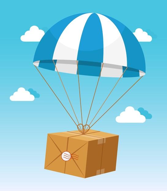Parachute Bleu Et Blanc Tenant La Boîte En Carton De Livraison Sur Fond De Ciel Bleu Clair Vecteur gratuit