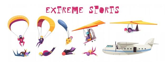 Parachutisme éléments De Sport Extrême Collection D'icônes Plates Avec Parachute Saut Planeur D'avion Chute Libre Isolé Vecteur gratuit
