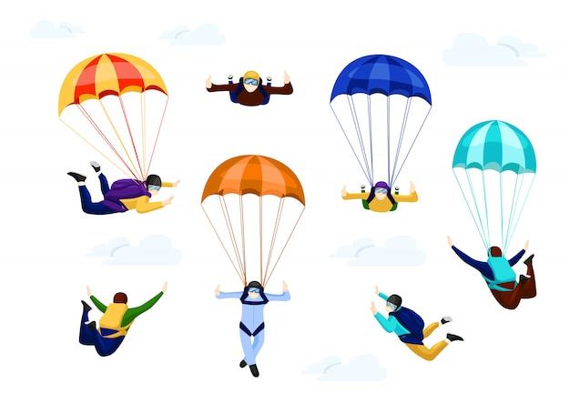 Parachutistes Sur Parachute Vecteur Premium