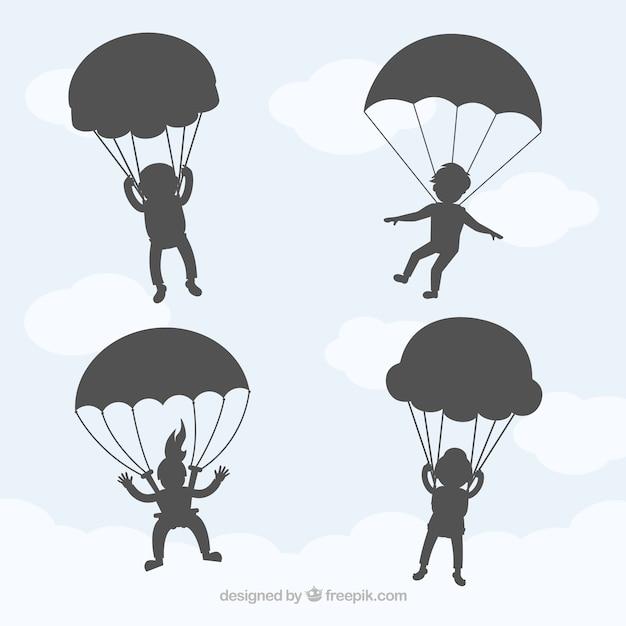 Parapente Parachutisme Dans L'ombre Ciel De Vecteur Vecteur gratuit
