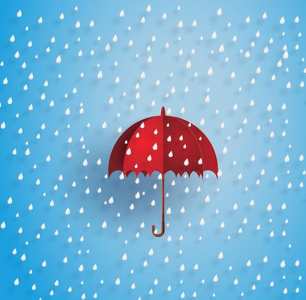 Parapluie dans l'air avec la pluie Vecteur Premium