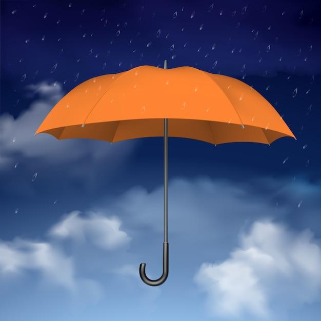Parapluie orange sur fond de nuages Vecteur gratuit