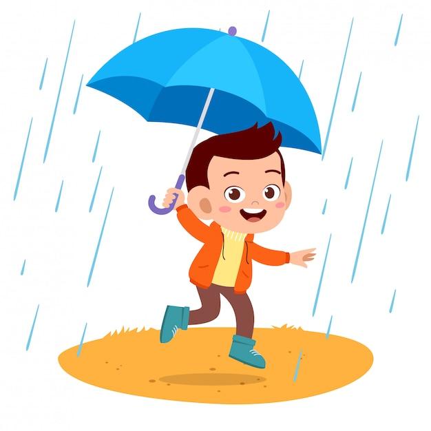 Parapluie pluie enfants heureux Vecteur Premium