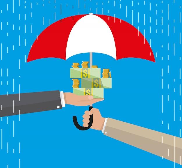 Parapluie Pour Protéger L'argent Vecteur Premium