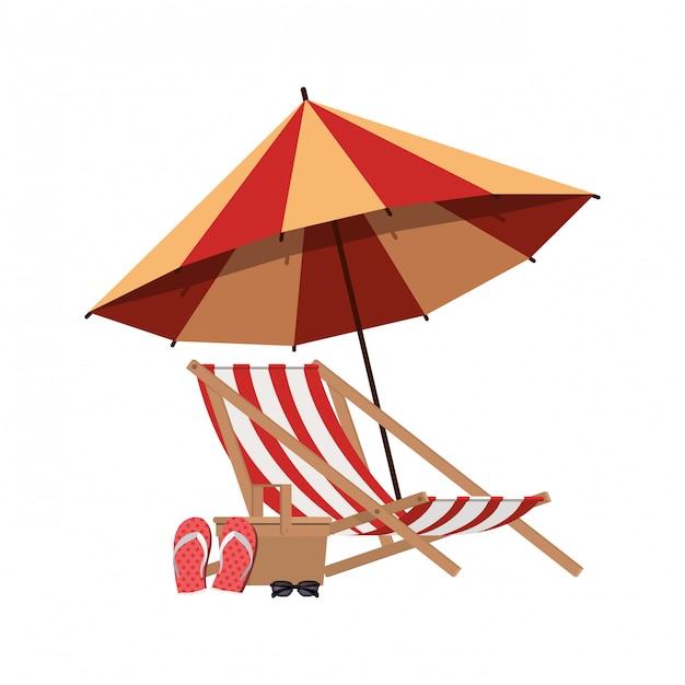 Parapluie rayé avec chaise de plage en blanc Vecteur gratuit
