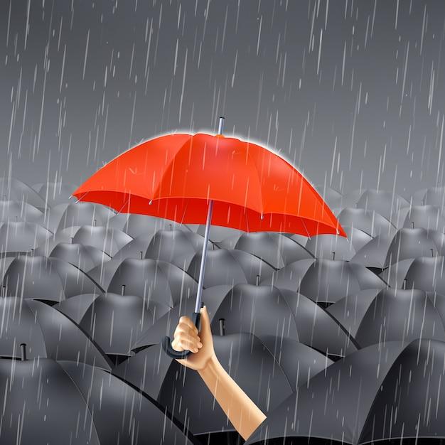 Parapluie rouge sous la pluie Vecteur gratuit