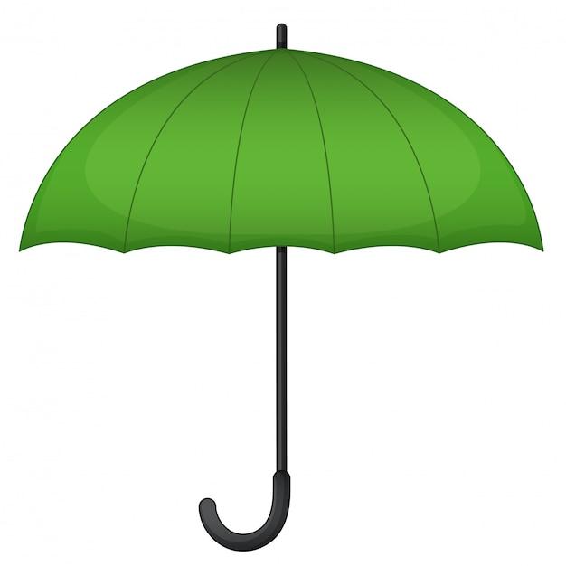 Parapluie Vert Sur Blanc Vecteur gratuit