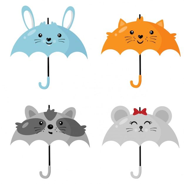 Parapluies mignons en forme d'animaux. Vecteur Premium
