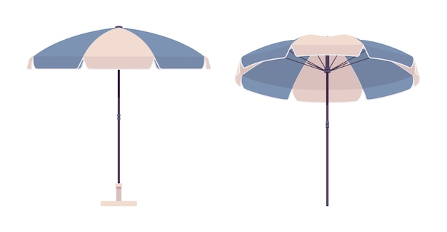Parasol en couleur bleu et blanc Vecteur Premium
