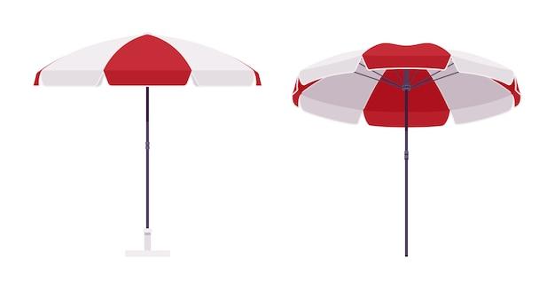 Parasol de couleur rouge et blanche Vecteur Premium
